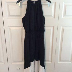 Halter tie neck color block high  low dress